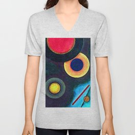 Wassily Kandinsky Composition with Circles and Lines Unisex V-Neck