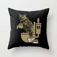 bathroom Throw Pillows featuring Bathroom Owl by October's Very Own