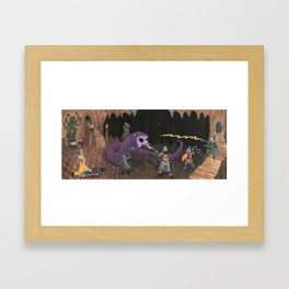 Purple Worm Fight Framed Art Print
