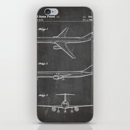 Boeing 777 Airliner Patent - 777 Airplane Art - Black Chalkboard iPhone Skin