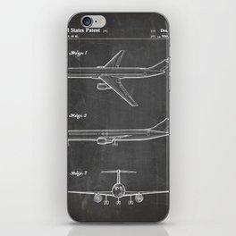 Boeing 777 Airliner Patent - 777 Airplane Art - Black Chalkboard iPhone Skin
