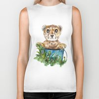 cheetah Biker Tanks featuring cheetah by Anna Shell