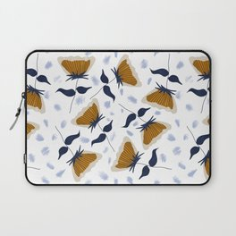 Gold and White Flowers with Blue Laptop Sleeve