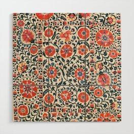 Shakhrisyabz Suzani  Uzbekistan Antique Floral Embroidery Print Wood Wall Art