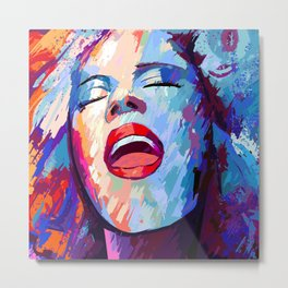 painting of a girl sings Metal Print