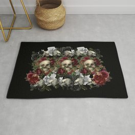 Skulls and Roses Bandana on Black Rug