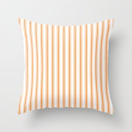 Bright Orange Russet Mattress Ticking Wide Striped Pattern - Fall Fashion 2018 Throw Pillow