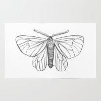 moth Area & Throw Rugs featuring Moth by Sunali Narshai