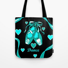 Love to Dance Teal Ballet Shoes Tote Bag