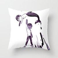 iwatobi Throw Pillows featuring Free Haru by Blue