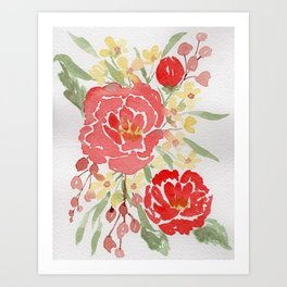 Bright Red Fall Bouquet watercolor painting Art Print