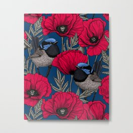 Fairy wren and poppies Metal Print