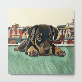 Doberman Puppy Protecting the 027 Railroad Metal Print