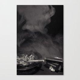 Cigarette Smoke Black and White Photo Canvas Print