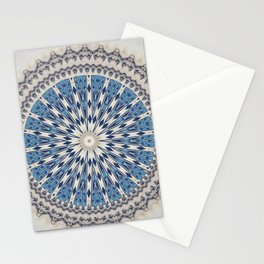 Bright Blue Marble Mandala Design Stationery Cards