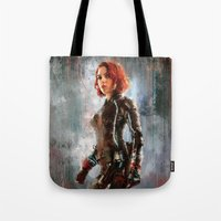 black widow Tote Bags featuring Black Widow by Wisesnail
