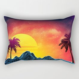 Sunset Vaporwave landscape with rocks and palms Rectangular Pillow