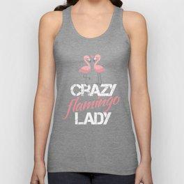 Crazy Flamingo Lady  Unisex Tank Top