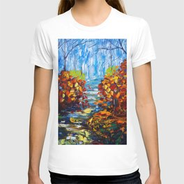 Misty Path oil painting with a Palette Knife T-shirt