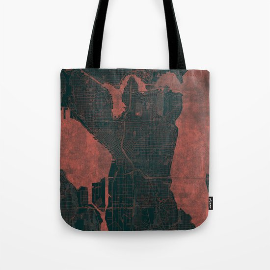 Seattle Map Red Tote Bag