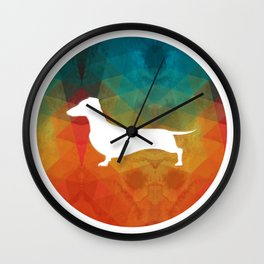 Rainbow Dachshund Wall Clock