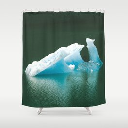 Blue Ice Swan Floating in Alaskan Waters Shower Curtain