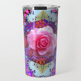 PINK ROSES WHITE BUTTERFLIES  PURPLE NATURE  ART Travel Mug