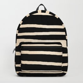 Simply Drawn Stripes White Gold Sands on Midnight Black Backpack