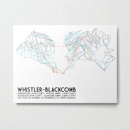 Whistler Blackcomb, BC, Canada - Minimalist Trail Map Metal Print