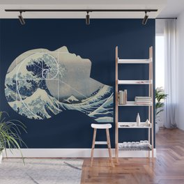 Great Wave, Hokusai Meets Golden Spiral, Phi in My Head Wall Mural