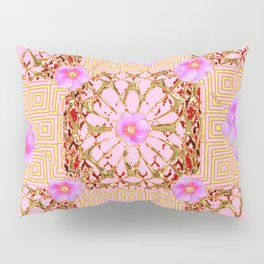 Delicate French Style Fuchsia Pink Wild Rose Gold Jewelry Abstract Pillow Sham