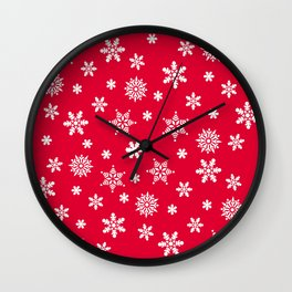 Snow Flurries-Christmassy Red Wall Clock