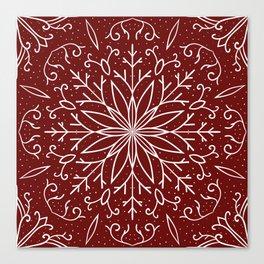 Single Snowflake - dark red Canvas Print