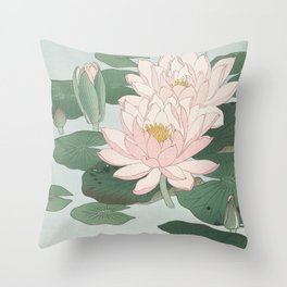 Water Lily Japanese print Throw Pillow