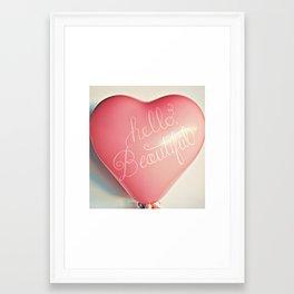 """Hello Beautiful"" - hand lettered heart balloon print Framed Art Print"