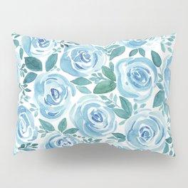 Pale blue roses . Watercolor . Pillow Sham