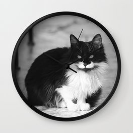 Black and white Italian Cat - black & white Photography Wall Clock