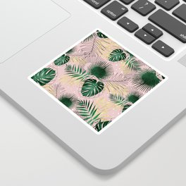 Modern gold tropical leaves and doddles design Sticker