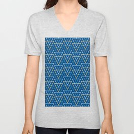 Modern Geometric Line Art Triangles in Classic Blue and Golden Yellow Unisex V-Neck