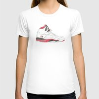 air jordan T-shirts featuring Air Jordan 5 Retro Fire Red by Ivana Citakovic