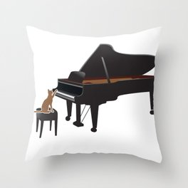 Great Gift For Piano And Cat Lover. Shirt Ideas Throw Pillow