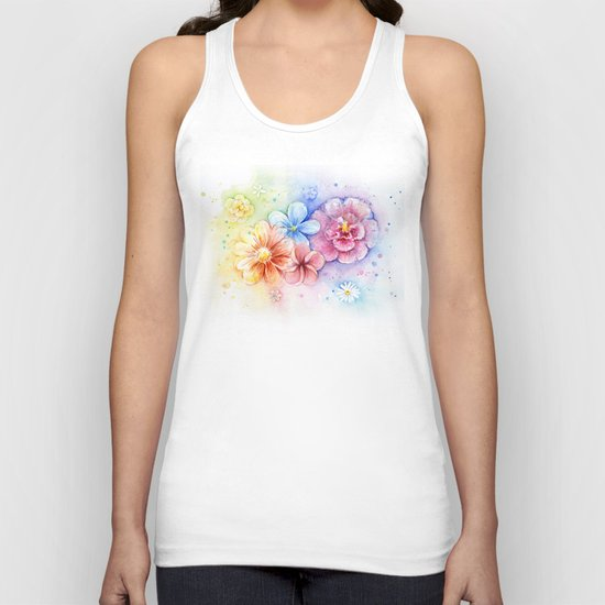 Flowers Watercolor Floral Colorful Rainbow Painting Unisex Tank Top