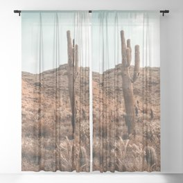 Saguaro Mountain // Vintage Desert Landscape Cactus Photography Teal Blue Sky Southwestern Style Sheer Curtain