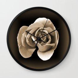 Rose in Sepia Wall Clock
