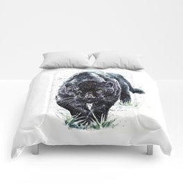 Panther watercolor painting predator animals puma Comforters