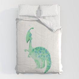 Green dino   Watercolor children illustration Comforters