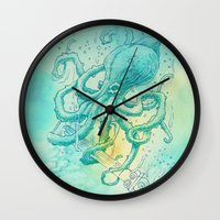 kraken Wall Clocks featuring Kraken by pakowacz