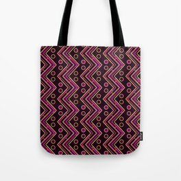 Gold Foil Arizona Chevron in Violet and Black Tote Bag