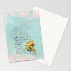 Love what you have- Quote with Rose Flower- Floral Collage and Wisdom on turquoise background Stationery Cards