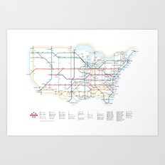 Interstate Highways as a Subway Map Art Print